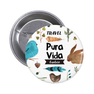 Travel and explore watercolour pinback button