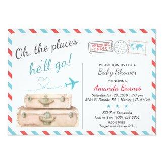 Travel Baby Shower Invitation, Airplane Invites