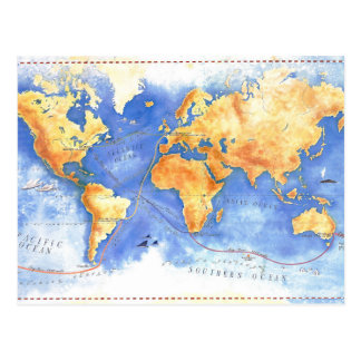 Travel Back In Time Map Postcard