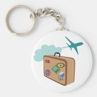 Travel Basic Round Button Keychain