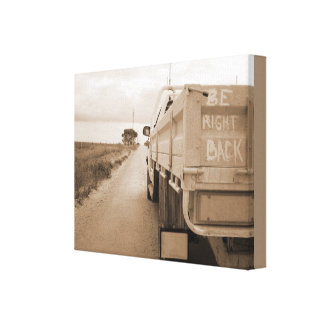 Travel be right back landscape dirt road sky ute canvas print
