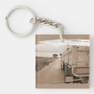 Travel be right back landscape dirt road sky ute Double-Sided square acrylic keychain