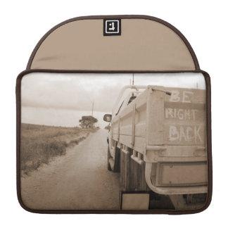 Travel be right back landscape dirt road sky ute sleeve for MacBooks