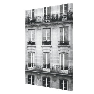 Travel | Black and White Vintage Building In Paris Canvas Print