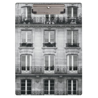 Travel | Black and White Vintage Building In Paris Clipboard