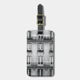Travel | Black and White Vintage Building In Paris Luggage Tag