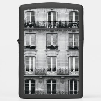Travel | Black and White Vintage Building In Paris Zippo Lighter