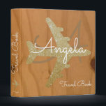 """travel book / golden airplane on wood custom 3 ring binder<br><div class=""""desc"""">A wooden background with a golden airplane and your own name in a script font-style with custom words &#39;Travel Book&#39;...  to collect photos and memories of your travels around the world</div>"""