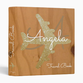 travel book / golden airplane on wood custom 3 ring binder