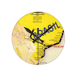 Travel Brasil Brazil By Airplane Round Clocks