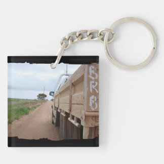 Travel BRB gravel track landscape sky ute Double-Sided Square Acrylic Keychain