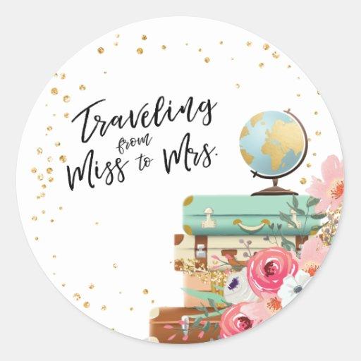 Travel Bridal shower Adventure Miss to Mrs Favor Classic Round Sticker