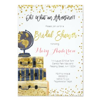 Travel Bridal Shower Invitation Gold Glitter
