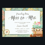 """Travel Bridal shower invitation Miss to Mrs<br><div class=""""desc"""">♥ A wonderful way to invite your guests to your bridal shower! Travel Themed Bridal Shower Invitation with coral and mint.</div>"""