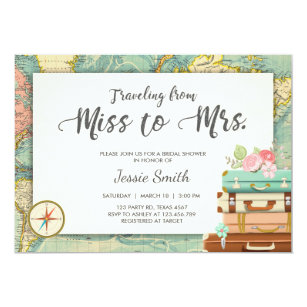 faba16ad367 Travel Bridal shower invitation Miss to Mrs