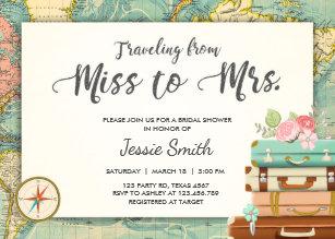 Travel bridal shower invitations zazzle travel bridal shower invitation miss to mrs filmwisefo