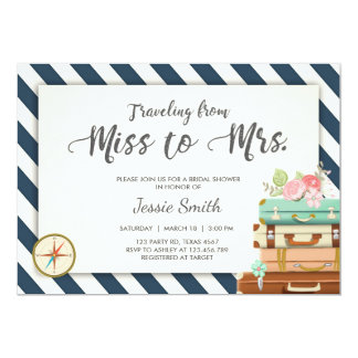 Travel Bridal shower invitation Miss to Mrs Navy