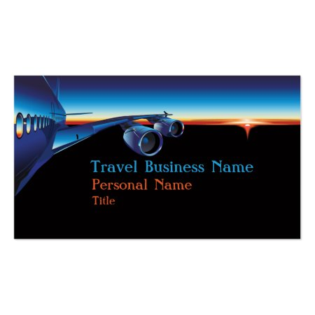 Striking Blue and Black Commercial Plane Pilot Stewardess or General Travel Business Card Templates