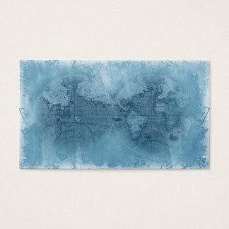 Travel Business Card Antique World Map Globe blue