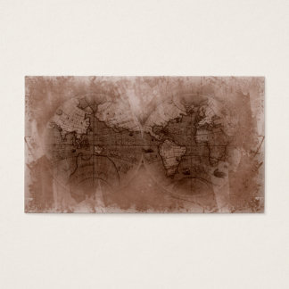 Travel Business Card Antique World Map Globe brown