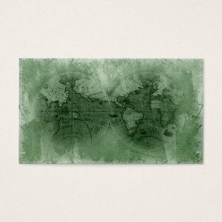 Travel Business Card Antique World Map Globe green