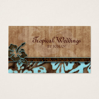 Travel Business Card Hibiscus Flower Blue