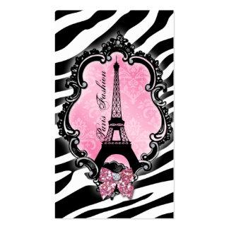 Travel Business Card Paris Fashion Zebra Cute