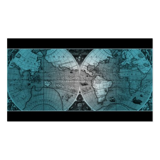 Travel Business Card World Map Globe blue