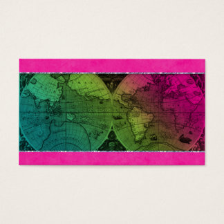 Travel Business Card World Map Globe Colorful