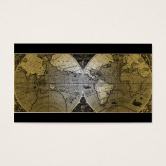 Travel Business Card World Map Globe gold