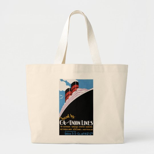 Travel by CA and Union Lines Large Tote Bag