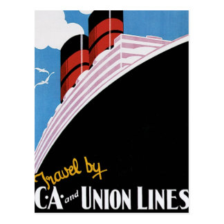 Travel by CA and Union Lines Postcard