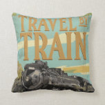 Travel By Train Locomotive poster Throw Pillows