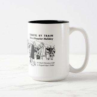 Travel By Train-Pennsylvania Railroad Two Tone Mug