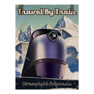 Travel By Train Sci-Fi vintage art Poster