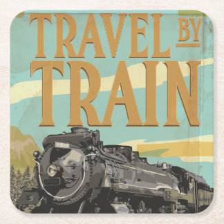 Travel By Train vintage travel poster Square Paper Coaster