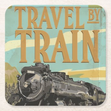 bartonleclaydesign Travel By Train vintage travel poster Square Paper Coaster