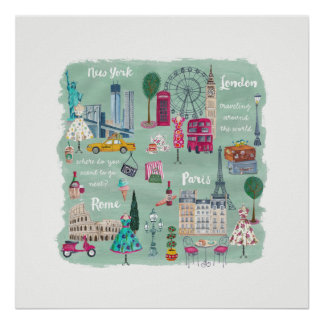 Travel city | Illustration Art | Poster