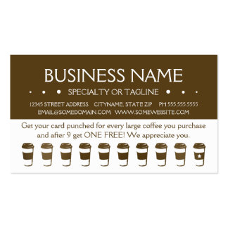 travel coffee cup loyalty punch card business card