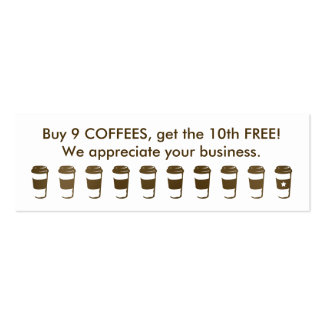 travel coffee cup loyalty punch card mini business card