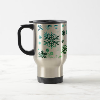 Travel Commuter Coffee Mug-GRN & TURQ Snowflakes Travel Mug