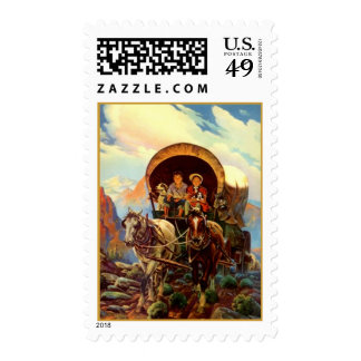 TRAVEL Covered Wagon trains westward MOVING STAMPS