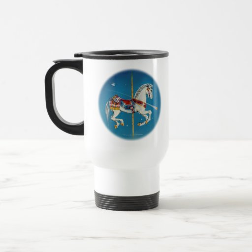Travel Cup - Red, White & Blue Carousel Horse Mug