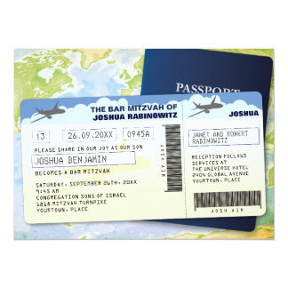 Travel Documents Bar or Bat Mitzvah 5.5x7.5 Paper Invitation Card