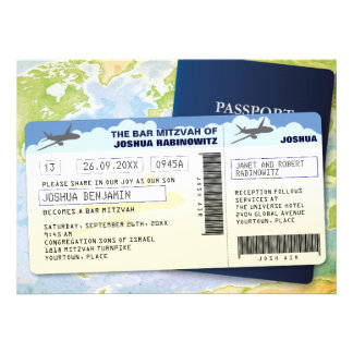 Travel Documents Bar or Bat Mitzvah Custom Invitation