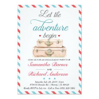 Travel Engagement Invitation Suitcase Adventure