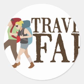 Travel Far Classic Round Sticker