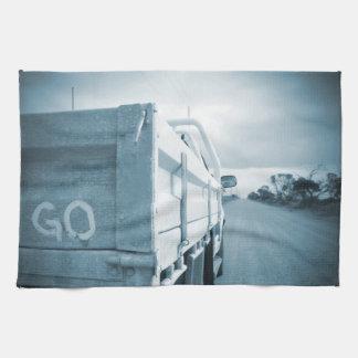 Travel go blue landscape dirt road sky ute towel