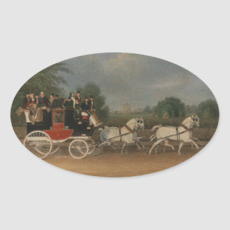 Travel in England, 1835. Oval Sticker