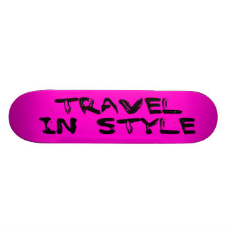 Travel In Style Text-Pink Skate Deck